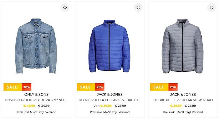 30% Rabatt auf Jack&Jones und Only&Sons   z.B. Jack&Jones Blazer für 20,99€ (statt 40€)