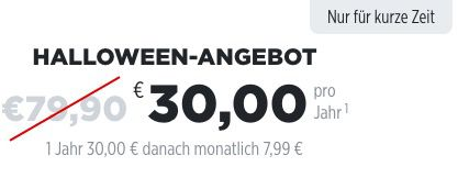 TOP! Halloween Deal! BILD+ nur 30€ für 1 Jahr (statt 80€)