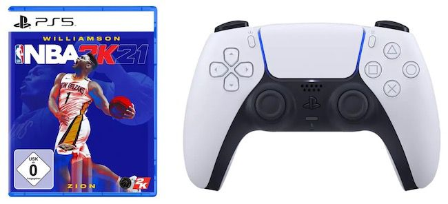 NBA 2K21 (PS 5) + PlayStation 5 DualSense Wireless Controller für 91,44€ (statt 136€)