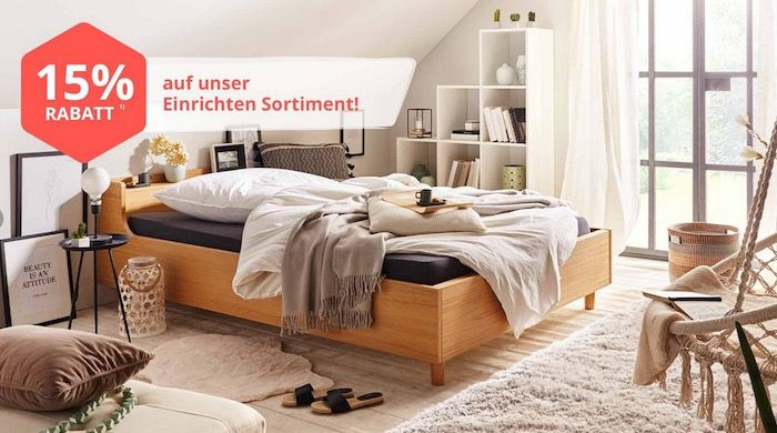 yourhome: 15% Rabatt auf das Einrichten Sortiment   Sofas, Tische, Betten uvm...