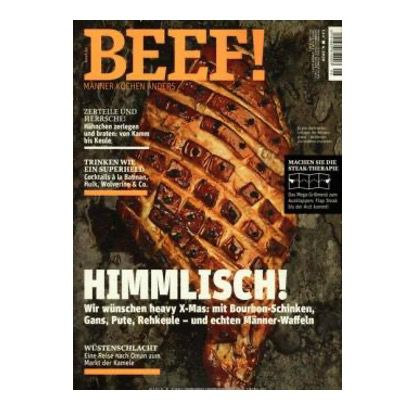 BEEF! Koch Magazin für Männer mit 6 Ausgaben für 72€ + Prämie: 40€ Amazon Gutschein