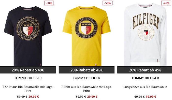 Tommy Hilfiger T Shirt Sale bis 50% Rabatt + 20% Extra Rabatt   z.B. 3 T Shirts für 47,99€ (vorher 90€)