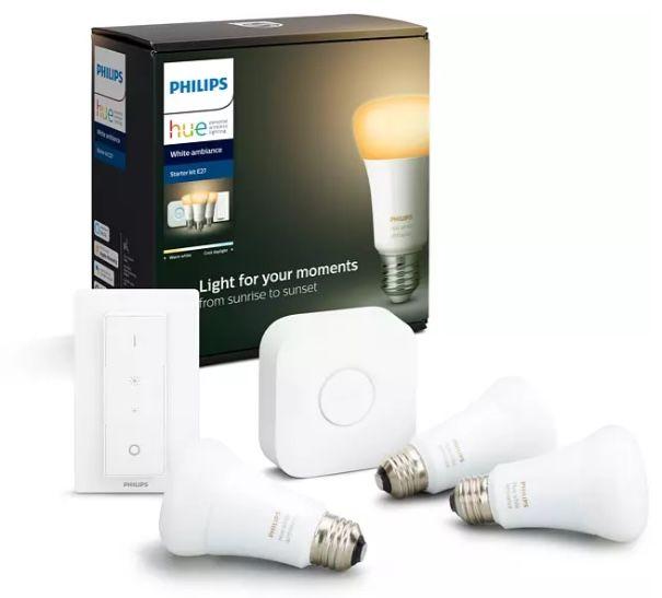 3er Pack Philips Hue White Ambiance E27 mit Bluetooth inkl. Bridge + Dimmschalter für 79€ (statt 94€)
