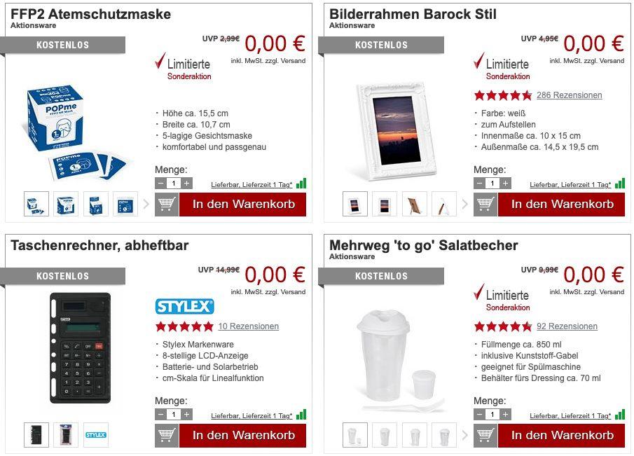 13 Gratis Artikel bei Druckerzubehör + 5,97€ VSK (MBW 9,95€)   z.B. Bilderrahmen oder FFP2 Maske