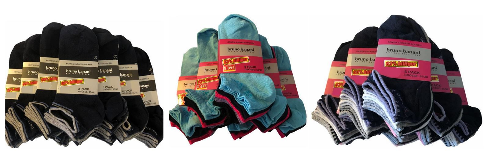 Bruno Banani Herren und Damen Sneaker Socken 30er Pack nur 39,99€ (statt 75€)