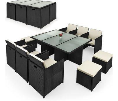 Casaria Cube 10 Personen Polyrattan Sitzgruppe + Tisch für 428,10€ (statt 600€)