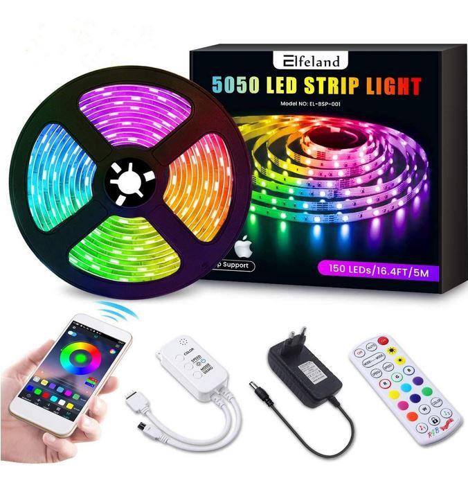 Elfeland LED Streifen 5M LED Strip RGB 5050SMD mit Musikerkennung für 10,94€ (statt 22€) – Prime