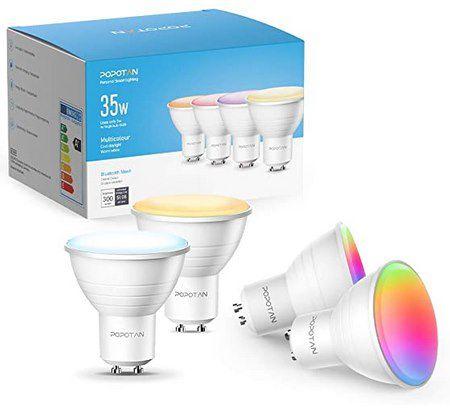4er Pack Popotan Bluetooth GU10 LED RGB Glühbirnen für 24,99€ (statt 50€)