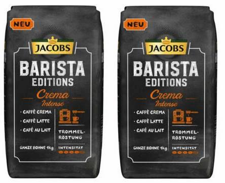 Vorbei! 2kg Jacobs Barista Editions Kaffee Crema Intenso ganze Bohne + Dose für 17,98€