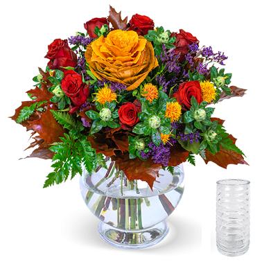 Blumenstrauß Herbstwiese inkl. Vase für 23,43€ (statt 29€)