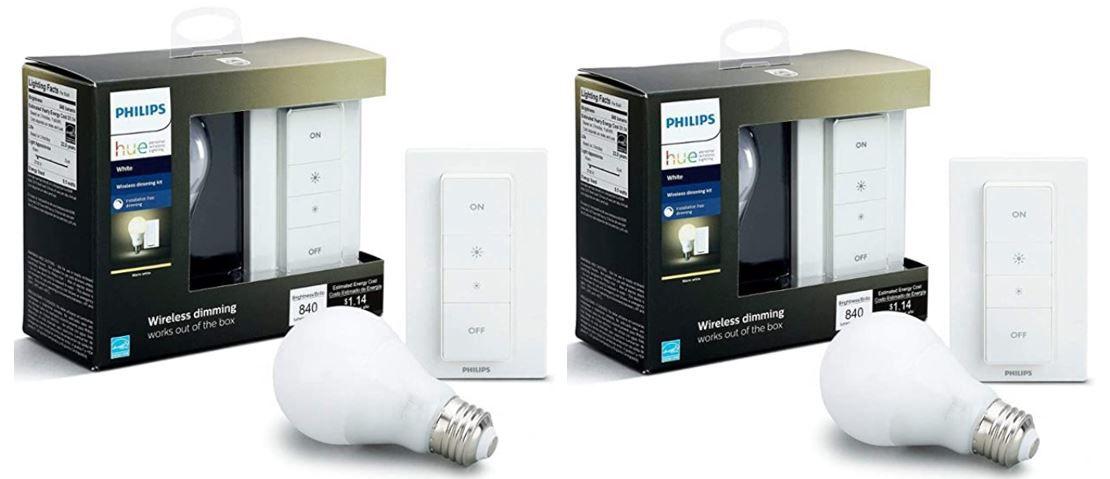 Doppelpack: Philips Hue Wireless Dimming Kit mit E27 LED für 33,93€ (statt 49€)