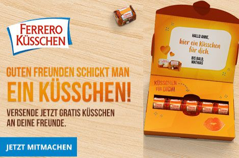 Ferrero Küsschen Grußbox gratis versenden