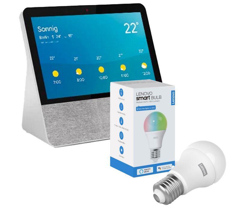 Google Assistant Lenovo Smart Display 7 Zoll IPS Touch + Lampe für 86,76€ (statt 150€)