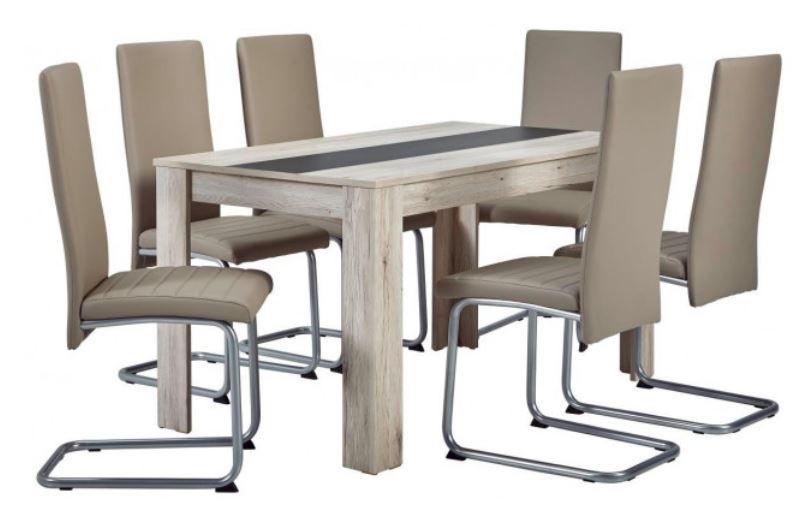 Sandy 7 teilige Tischgruppe mit 6 Stühlen für 205,50€ (statt 306€)