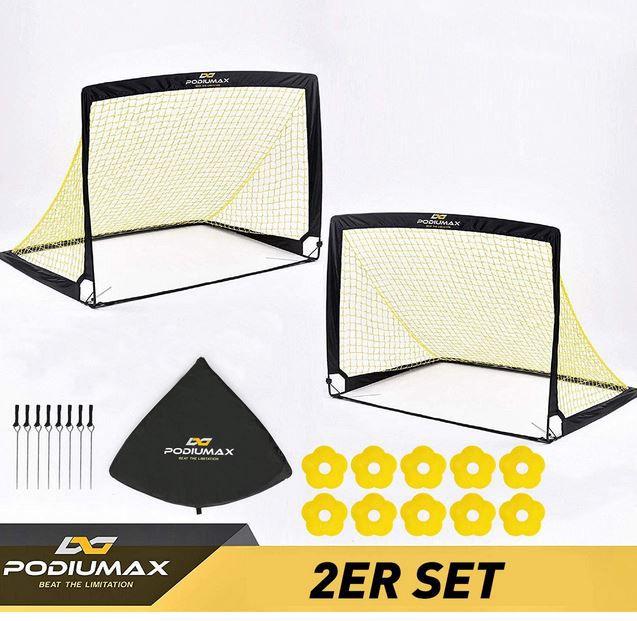 PodiuMax Doppelpack aufblasbare Spiel Fußballtore mit Zubehör für 37,79€ (statt 70€)