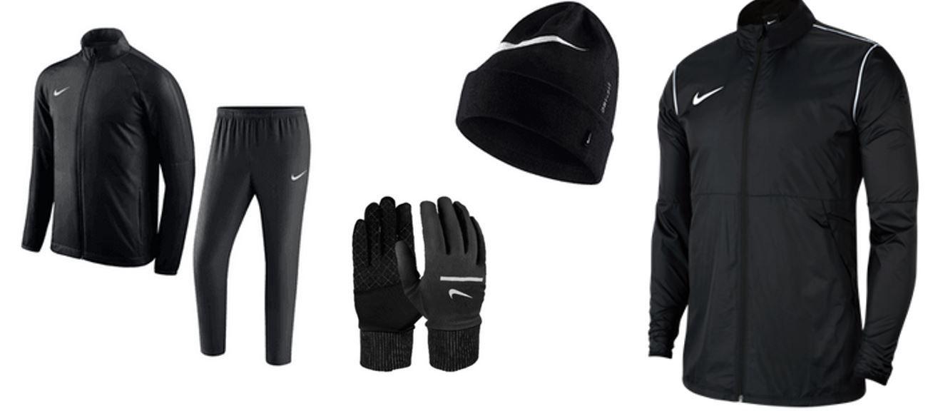 Nike Winterset 5 teilig: Trainingsanzug, Regenjacke, Handschuhe, Beanie für 84,95€ (statt 101,95€)