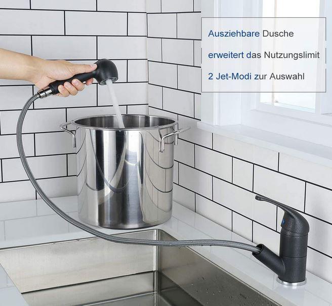 ARCORA Küchenarmatur Schwenkbarer Ausziehbarer Wasserhahn mit Brause für 28,95€ (statt 58€)