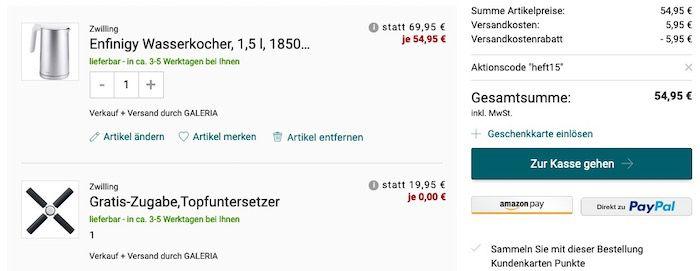 Zwilling Enfinigy Wasserkocher 1,5L (1850 W, mit Abschaltautomatik) + Topfuntersetzer für 54,95€ (statt 87€)