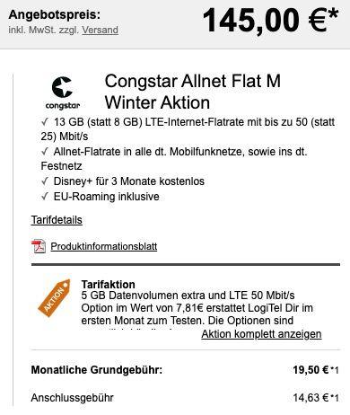 OnePlus 8T mit 128GB für 145€ + Telekom Flat von Congstar mit 8GB LTE für 20€ mtl.