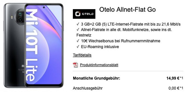 Xiaomi Mi 10T Lite 128GB 5G für 19€ mit Vodafone Allnet von Otelo mit 5GB LTE für 14,99€ mtl.