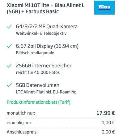Vorbei! Xiaomi Mi 10T lite mit 256GB für 1€ + o2 Flat von Blau.de mit 5GB LTE für 17,99€ mtl.