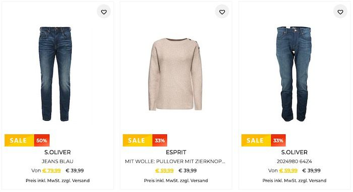 30% Extra Rabatt auf Esprit und s.Oliver auch im Sale z.B. s.Oliver Webware Jacke für 62,99€ (statt 120€)
