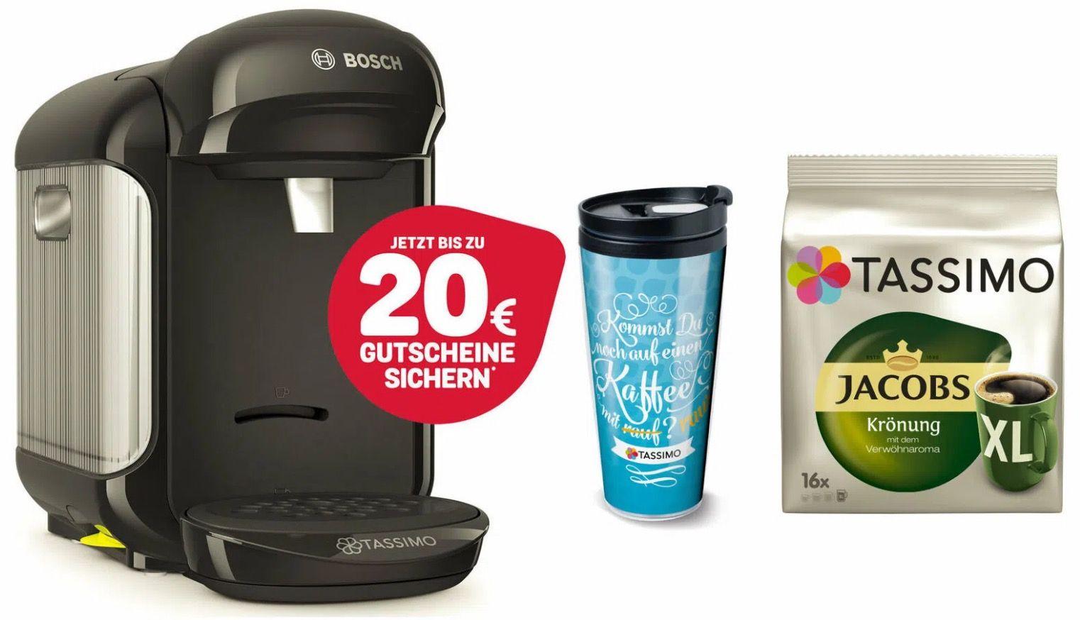 TASSIMO Vivy 2 + 2 x 10€ Tassimo Gutscheine + Thermobecher to go + TDisc Jacobs Krönung XL für 29,99€