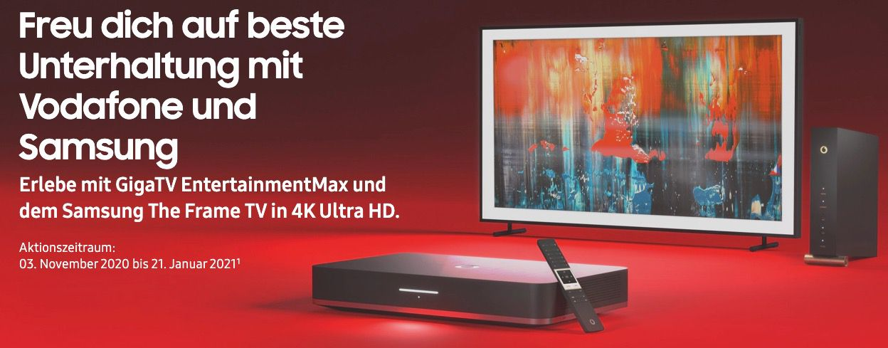 Vodafone Gigabit inkl. GigaTV Cable für 64,98€ zzgl. 199,99€ Anschluss + 55 Samsung The Frame Fernseher gratis (Wert 999€)