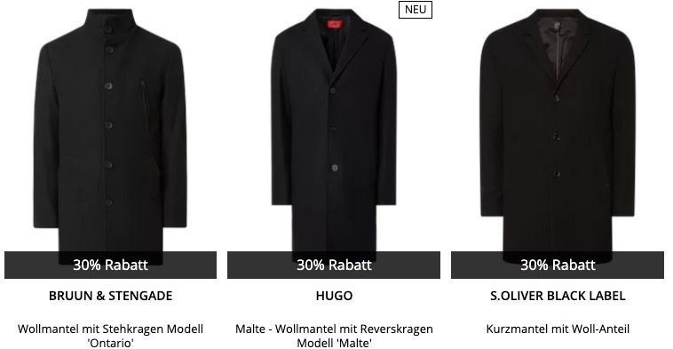 30% Rabatt auf Mäntel bei Peek & Cloppenburg*   z.B. JOOP! Faron Mantel nur 209,99€ (statt 300€)