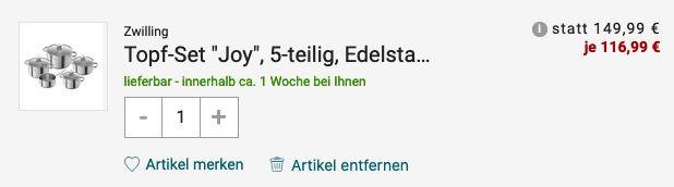 Zwilling Kochtopf Set Joy 5 teilig (Edelstahl 18/10) für 116,99€ (statt 188€)