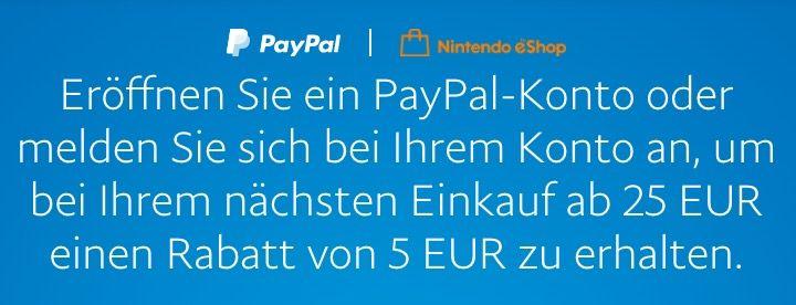 Paypal: 5€ Rabatt im Nintendo eShop ab nur 25€