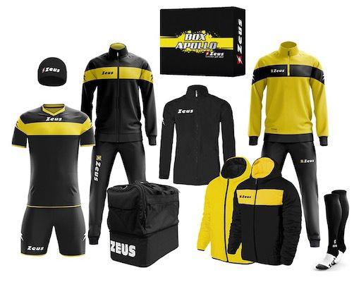 Zeus Apollo Fußball Set mit 12 Teilen (Trainingsanzug, Trikot, Regenjacke uvm.) für 79,99€(statt 120€)