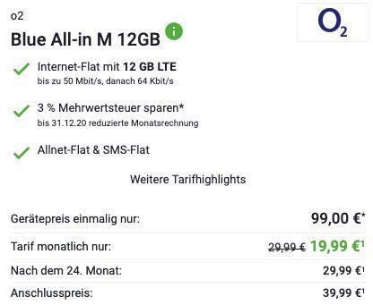 Samsung Galaxy S20 FE für 99€ + o2 Flat mit 12GB LTE für 19,99€ mtl.   100€ GooglePay
