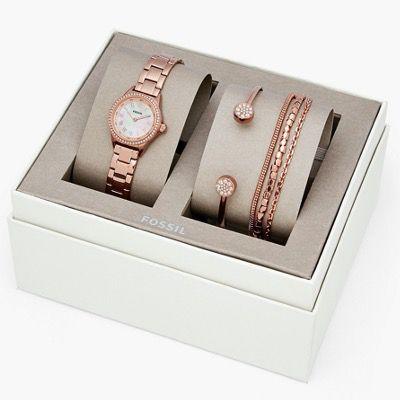 FOSSIL Damen Geschenkset aus Uhr Blythe mit Armbändern Farbe Roségold für 50,40€ (statt 116€)