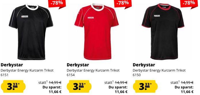 Derbystar Fixpreis Sale für 3,33€ je Artikel   z.B. Trainings Shorts oder Langarm Trikots