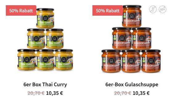 Ausverkauft! 6er Pack Little Lunch Thai Curry oder Gulaschsuppe für je 10€   keine VSK ab 35€