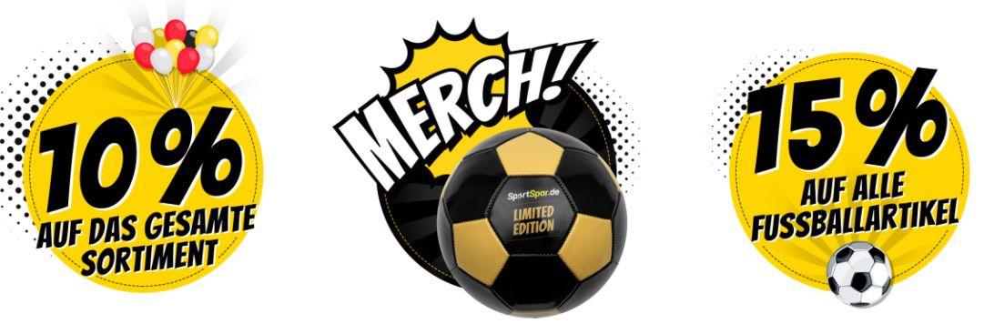 SportSpar Glücksrad: 10% auf alles oder 15% auf Fußballartikel ohne MBW   oder gratis Fußball ab 10€ dazu
