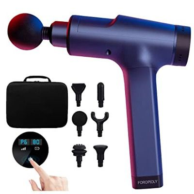 FOROPIOLY Massagepistole mit 6 einstellbaren Geschwindigkeiten und Massageköpfen für 64,15€ (statt 99€)