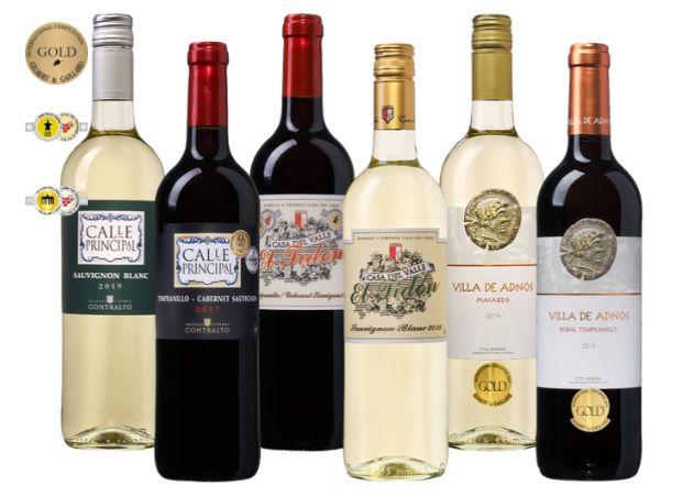 6er Pack prämierte Spanien Weine (3x Rot, 3x Weiß) für 29,99€