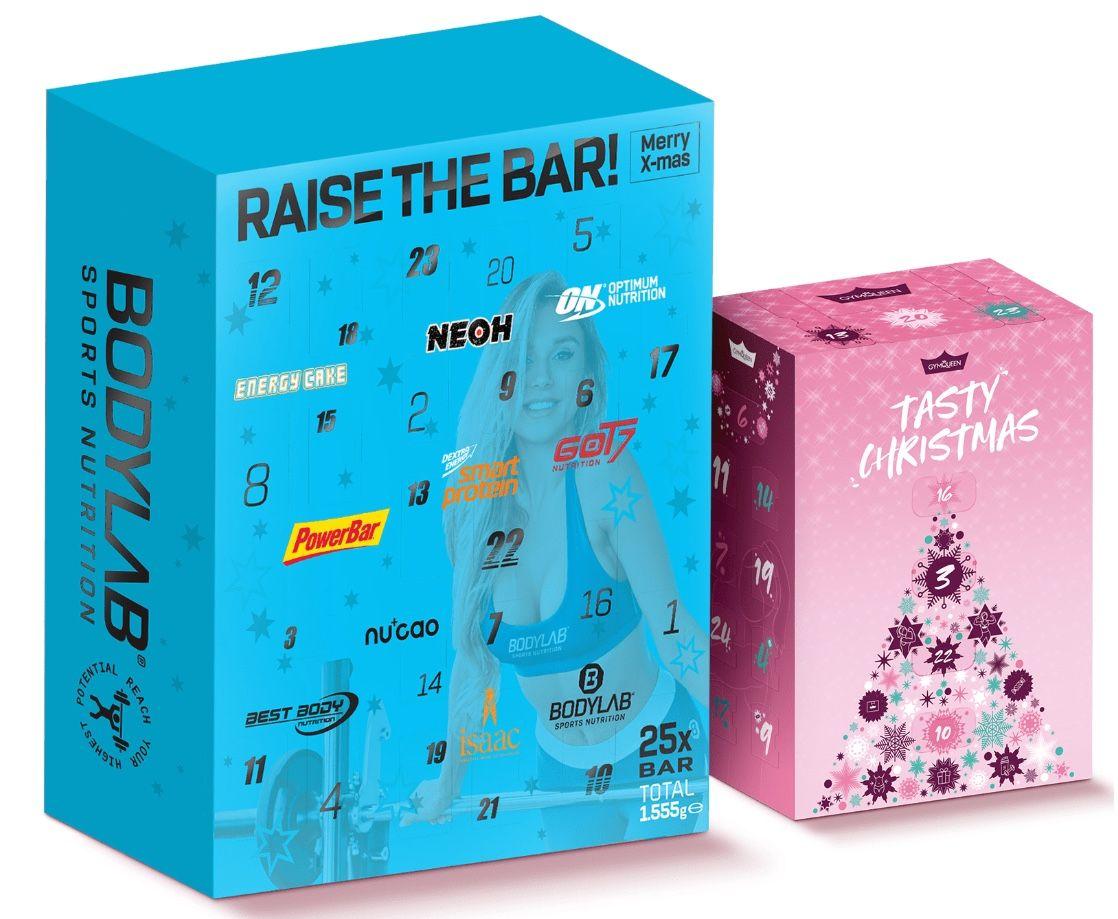 Bodylab24 Adventskalender (25 Riegel, 10 Marken, 1.555g) + Gymqueen Adventskalender für 65€