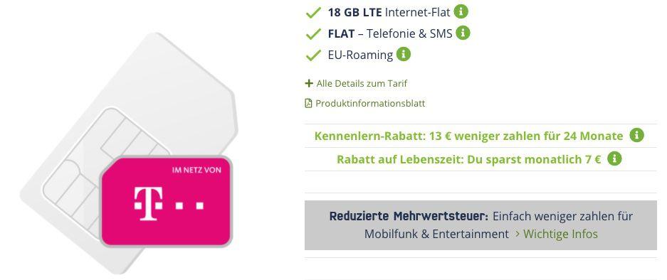 Vodafone Allnet Flat inkl. VoLTE mit 18GB LTE für 14,99€ mtl. oder Telekom 18GB LTE für 16,99€ mtl.
