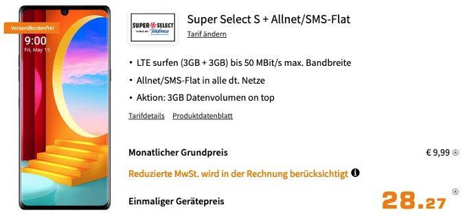 🔥 LG Velvet 128GB für 28,27€ mit O2 AllNet und SMS Flat mit 6GB LTE50 für 9,99€ mtl.