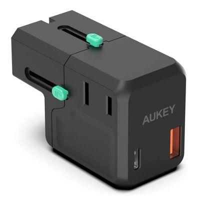 AUKEY USB C 2 Port Reiseadapter 18W PD in Schwarz für 18,97€ (statt 26€)