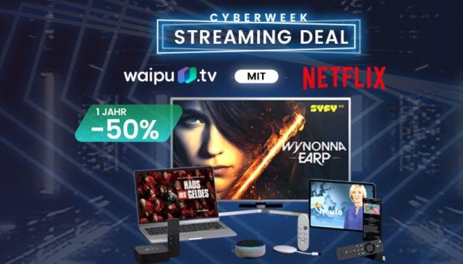 50% Rabatt auf 6 Monate waipu TV Perfect Plus und Perfect Plus inkl. Netflix