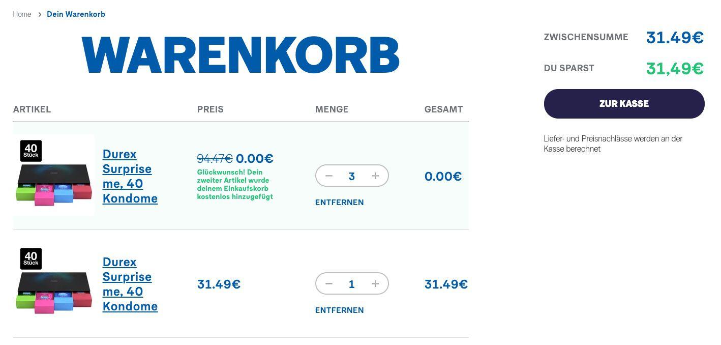 Abgelaufen! Durex Rabattfehler   z.B. 160 Kondome für 28,35€(statt 80€)