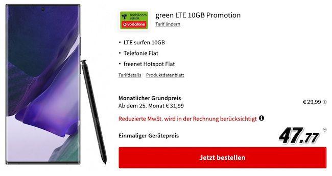 Samsung Galaxy Note20 Ultra 5G für 47,77€ + Vodafone Allnet Flat mit 10GB LTE für 29,99€mtl.