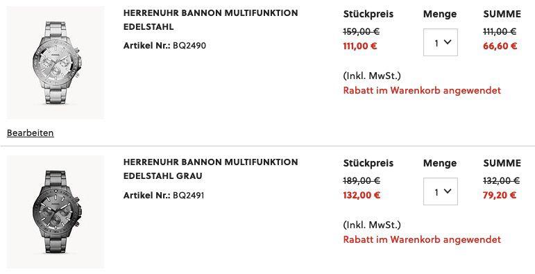Fossil Multifunktions Herrenuhr Bannon 45mm aus Edelstahl in zwei Farben ab 66,60€ (statt 110€)