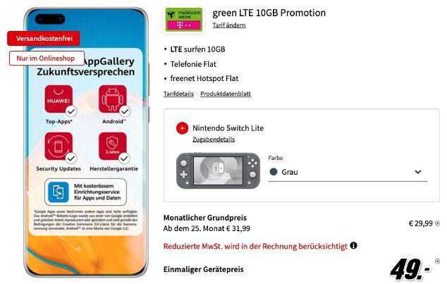 Huawei P40 Pro + Nintendo Switch Lite für 49€ mit Telekom Allnet inkl. 10GB LTE für 29,99€ mtl.