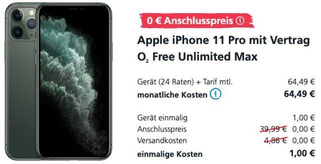 Apple iPhone 11 Pro 256GB Grün für 1€ + o2 Flat mit unlimited LTE Max 225 für 64,49€mtl.