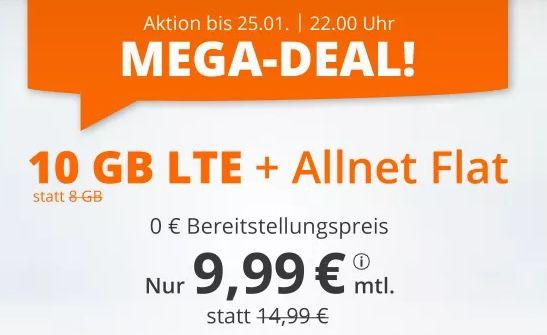 Bis 22 Uhr: o2 Allnet Flat mit 10GB LTE für 9,99€mtl. + keine Laufzeit